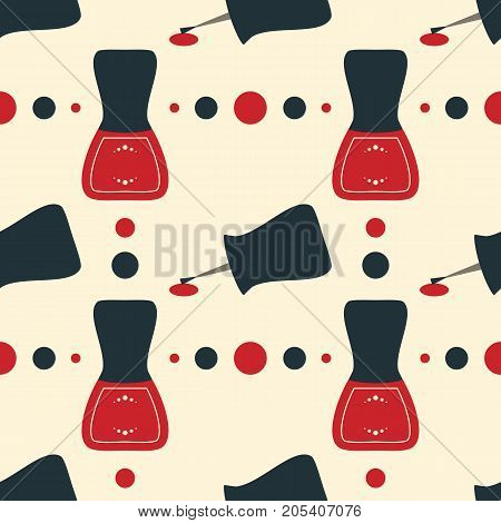 Vector illustration for spa manicure salon. Vintage old style illustration. Seamless pattern of nail polish bottles nail brush and lacquer drops