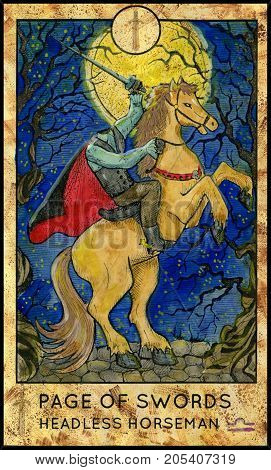 Headless horseman. Page of swords. Fantasy Creatures Tarot full deck. Minor arcana. Hand drawn graphic illustration, engraved colorful painting with occult symbols. Halloween background