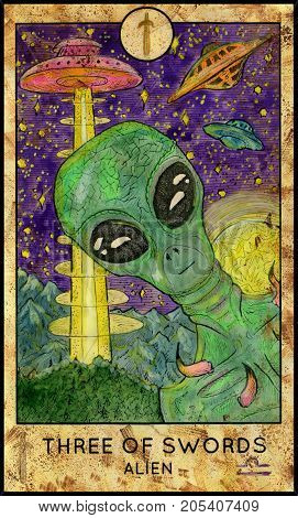 Alien. Three of swords. Fantasy Creatures Tarot full deck. Minor arcana. Hand drawn graphic illustration, engraved colorful painting with occult symbols. Sci fi background