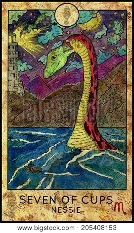 Nessie. Seven of cups. Fantasy Creatures Tarot full deck. Minor arcana. Hand drawn graphic illustration, engraved colorful painting with occult symbols