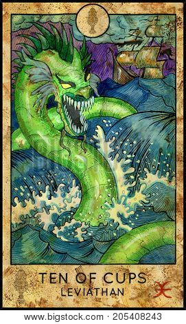 Leviathan. Ten of cups. Fantasy Creatures Tarot full deck. Minor arcana. Hand drawn graphic illustration, engraved colorful painting with occult symbols