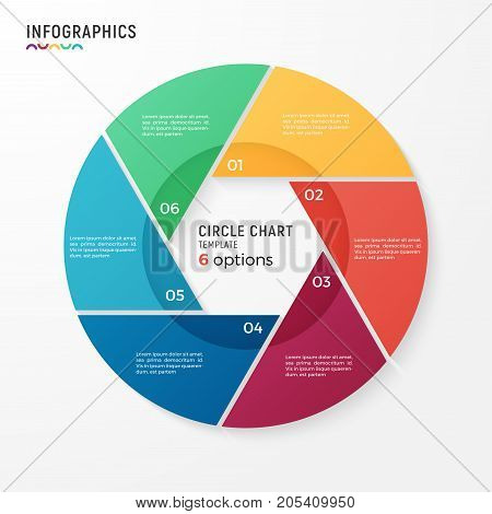 Vector circle chart infographic template for data visualization. 6 options, steps, parts.