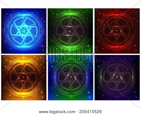 HUD Elements Super pack of six different colors. Sci Fi Futuristic User Interface. Futuristic concept star of David. Vector Illustration.