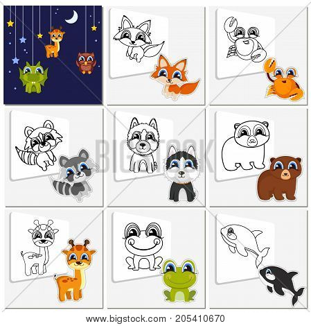 Cartoon animal set. Childish collection cute animals that need to be painted. Coloring book pages for kids. Ready-made solution. Vector illustration