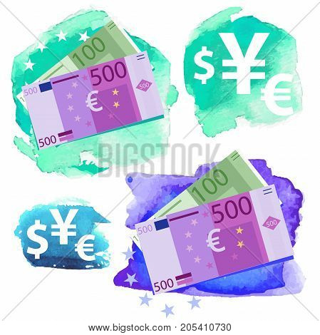 Money icon - Euro, five hundred and one hundred vector bills and currency signs on a watercolor background