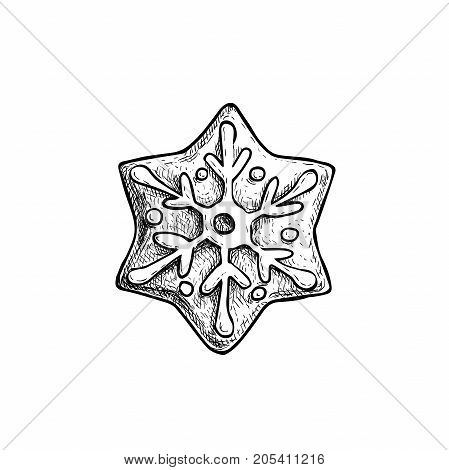 Hand drawn sketch snowflake star icing decorated. Traditional Christmas cookie. Vector hand made illustration.