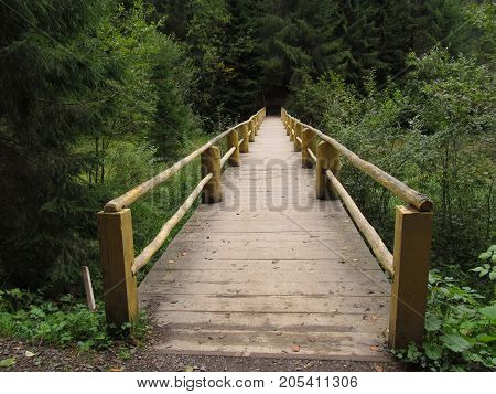wooden bridge over the mountain river in the Carpathian forest.