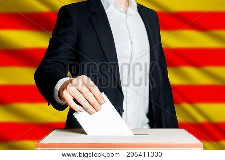 Man Putting A Ballot Into A Voting box. Democracy Freedom Concept