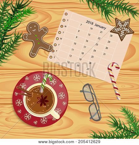 Christmas celebration with hot cocoa or coffee and gingerbread cookies. Xmas theme top view on wooden table background. Vector illustration eps 10