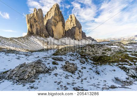 View at the North Face of Tre Cime di Lavaredo in Dolomites