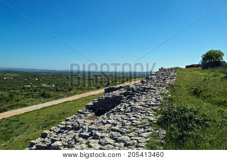 Remains of defense wall on Bribir fortress, Dalmatia