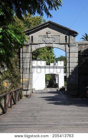 Colonia del Sacramento Uruguay - 13 february 2011: Old Gate in colonial town of Colonia del Sacramento in Uruguay