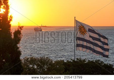 Sunset view from Colonia del Sacramento on Uruguay to the sea and Buenos Aires on Argentina