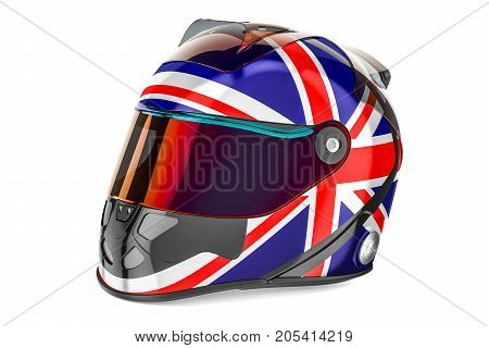 Racing helmet with flag of United Kingdom 3D rendering isolated on white background