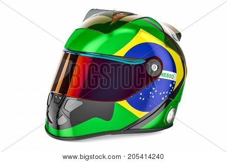 Racing helmet with flag of Brazil 3D rendering isolated on white background