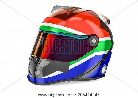 Racing helmet with flag of South Africa 3D rendering isolated on white background