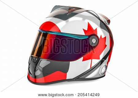 Racing helmet with flag of Canada 3D rendering isolated on white background