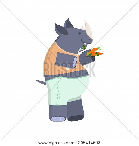 Concept of a rhinoceros on a diet. Cute character rhino with broccoli and carrots. Vector illustration eps 10