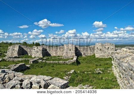 Remains of defense walls and towers on Bribir fortress, Dalmatia