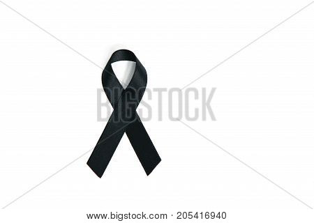 Black Mourning ribbons on the white screen