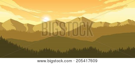 mountains and hills landscape illustration in evening time