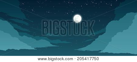 flat color stylized sky illustration at night time