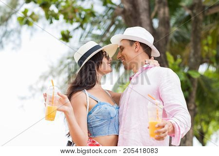Attracive Couple Kiss Over Sea Landscape Background Young Tourists Man And Woman Lovers On Vacation Together