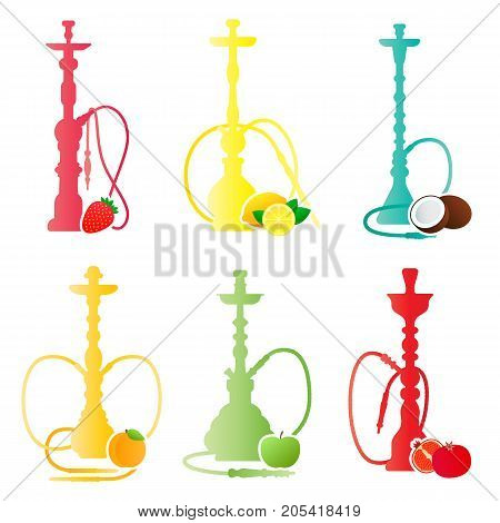 Hookah silhouettes with different fruit flavors. Various flavor additives. Vector circle illustration for hookah menu.