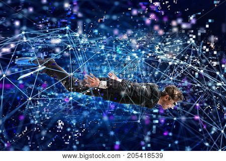 Businessman surfing the digital internet underwater with mask. Internet exploration concept