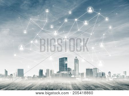 Modern cityscape wooden floor and social connection concept on screen