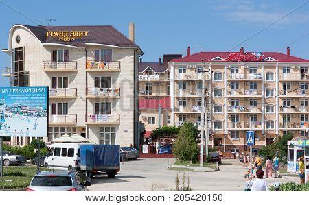VITYAZEVO, RUSSIA - JUNE 9, 2013: View of the village of Vityazevo. Vityazevo is resort settlement in the South of Krasnodar Krai