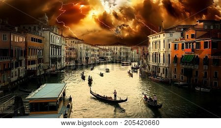 Grand Canal in Venice. Thunderstorm, storm. Italy