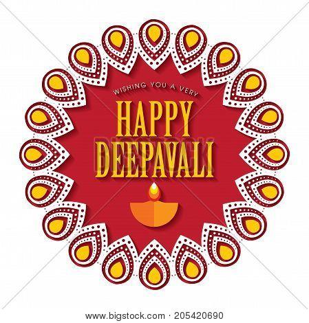 Diwali or Deepavali greetings template with beautiful burning diwali diya (india oil lamp) vector illustration.