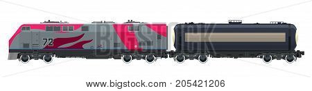 Locomotive with Railway Tank Car Train Isolated on White Background Railway and Container Transport Tank on Railway Platform for Transportation of Liquid and Loose Freights