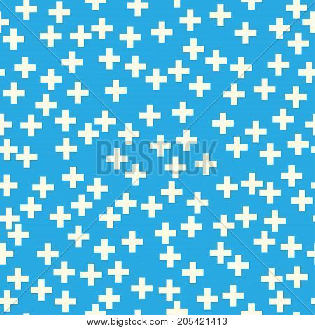 Plus Sign on Blue Background Seamless Pattern Pattern for Fabric and Wrapping Paper Illustration