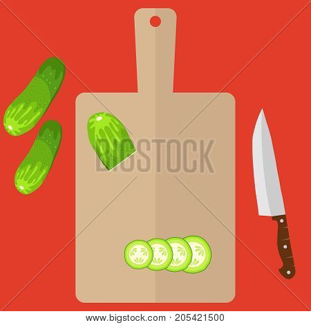 Sliced cucumber on a cutting board and kitchen knife. Flat design vector illustration vector.