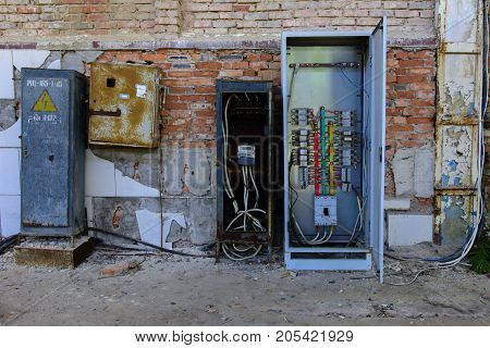 Electric distributor of the destroyed building of the shop of the plant which worked for the defense industry of Ukraine. Robbery and an act of vandalism. September 2017 year