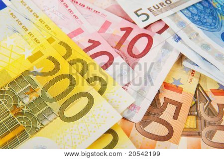 Many different Euro banknotes with big valuta