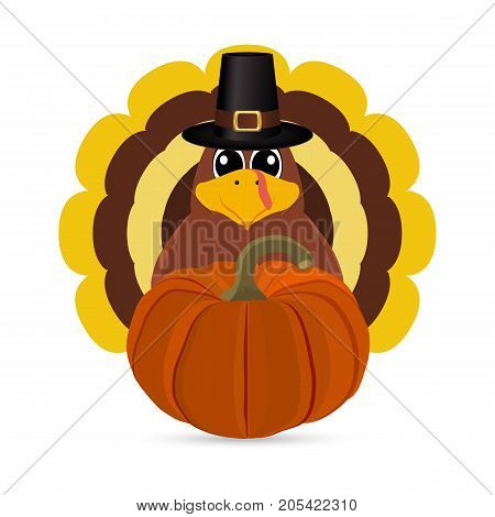 Turkey Pilgrimin on Thanksgiving Day vector illustration