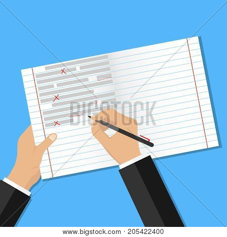 Text checking for errors. Correction of errors in the text. Flat design vector illustration vector.