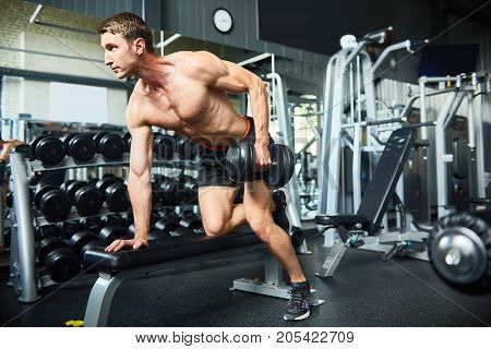 Profile view of young fit man flexing muscles with dumbbell while having intensive training at modern sports center, portrait shot