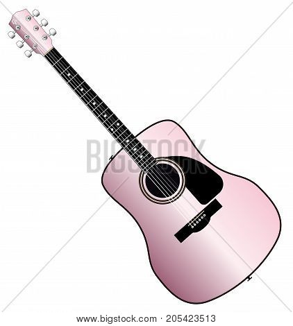 A typical acoustic guitar in pink isolated over a white background.