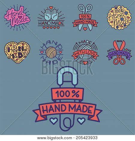 Handmade needlework badges, labels and logo sewing fashion tailoring tailor handicraft elements vector illustration. Workshop emblem vintage hobby.