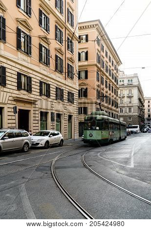 Rome Lazio Italy. July 20 2017. Tram circulating by its rails in the Roman street called Daniele Manin
