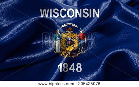 Realistic flag of Wisconsin on the wavy surface of fabric. This flag can be used in design