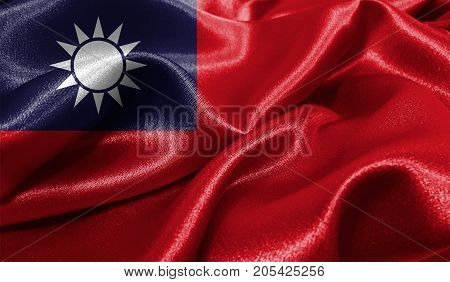 Realistic flag of Taiwan on the wavy surface of fabric. This flag can be used in design