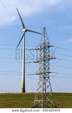 The wind farm produces electricity for the farm and industry