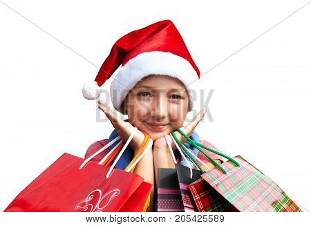 Little Girl In Red Cap With Shopping Bags. Christmas