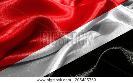 Realistic flag of Sealand,Principality of on the wavy surface of fabric. This flag can be used in design