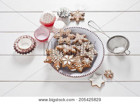 Christmas Gingerbread stars on white boards. Food